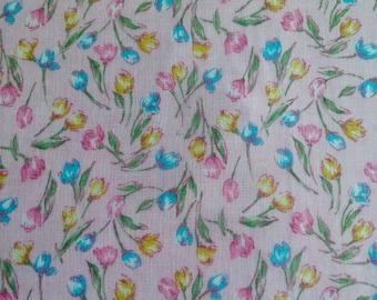 "Vintage Fabric Tulip Print  7 yards long x 44"" wide"