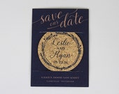 Cork Coaster Save the Date-Navy Wreath and Gold Script with Photo (includes envelope): Get Started Deposit