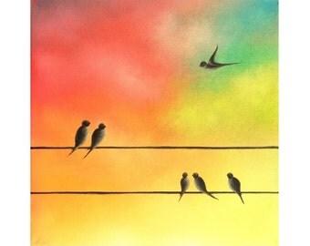 Family of Birds on a Wire Art, Flying Bird, Bird in Flight Art Print, Silhouette Bird Art, Multicolored Wall Art, Whimsical Bird Family