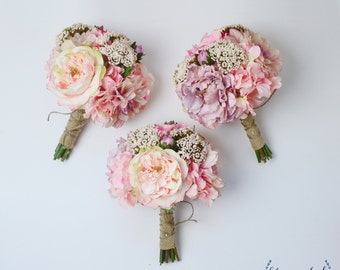 Bridesmaid Bouquet, Silk Flowers, Silk Wedding Bouquet, Pink, Bouquet, Wedding Set, Faux Bouquet, Shabby Chic, Rustic Bouquet, Fall Bouquet