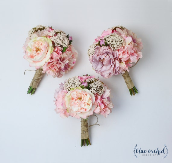 Bridesmaid bouquet silk flowers silk wedding bouquet pink like this item junglespirit Image collections