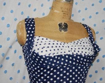 60s Does 40s Polka Dot Shelf Bust Swing Dress Sz M Bettie Boop!
