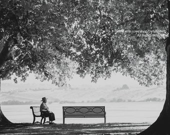 The Bench Man -Elderly Man Sitting On Park Bench -Fine Art Black & White Photography -Home Decor -Fine Art Photograph Wall Art