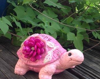 Pink Embellished Garden Turtle - Whimsy Garden Statue - Pink Garden Decor