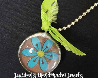 Blue Brown and Green Flower Necklace, Soldered Necklace, Blue Flower Necklace, Glass Necklace, Pendant Necklace, Flower Charm Necklace