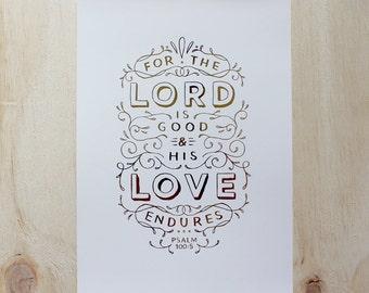 Hand-Lettered Biblical Print - Psalm 100:5 | Christmas Gift