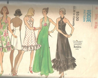 Vogue 8323 vintage cut to size 8 womans halter dress, knits only