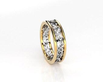 Diamond ring, gold, wedding band,  diamond wedding, filigree ring, two tone, vintage style, filigree wedding, yellow gold