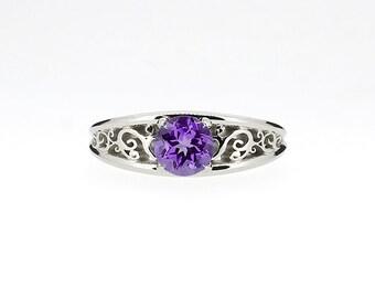 0.70ct Amethyst ring engagement ring, filigree, purple engagement, solitaire ring, amethyst wedding ring, unique, nickel free engagement