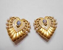 Vintage Elizabeth Taylor Avon Hearts of Hollywood Clip-on Earrings (6499)