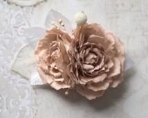 Wedding Fascinator, Bridal Rose Hair Accessory, Romantic Hair Accessory, Rose for Hair, Boho Hair Piece, Blush Hair Clip,Bohemian Hair Piece