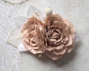 Wedding Fascinator, Bridal Rose Hair Accessory, Romantic Hair Accessory, Rose for Hair, Boho Hair Piece, Blush Hair Clip,Bohemian Hair Piece