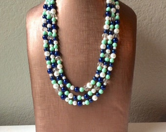 Navy and Mint Statement Necklace - Triple Strand Beaded Jewelry