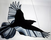 Stained Glass Raven, Stained Glass Bird, Raven Art, Gothic, Crow, Stained Glass Window Panel, Raven Art, Crow Art, Glass Art
