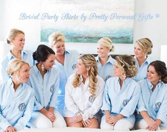 Monogrammed Blue or White Oxford - Blue Bride's Shirt - Bride's Wedding Day Shirt
