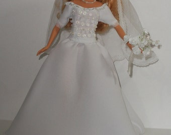 Barbie Crystal Beaded Sweetheart Wedding Gown & Accessories