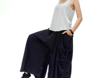 NO.175 Black Cotton Jersey Mega Pocket Maxi Skirt/Pants, Steampunk Versatility Skirt/Pants
