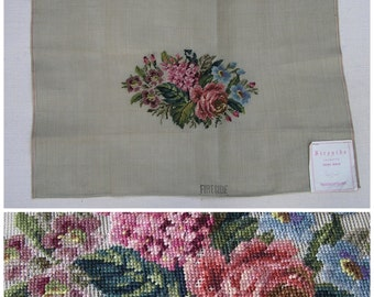 Vintage Pre-worked Needlepoint Canvas, Floral Needlepoint, Fireside, Vintage Flowers, 20 x 27