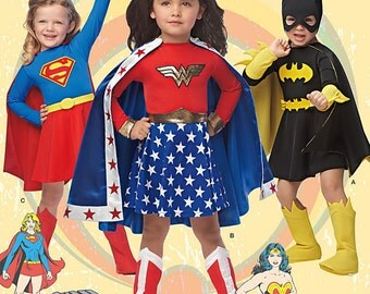 UNCUT Girl's Super Hero Costume Simplicity 0222 or 1035 Size 3-4-5-6-7-8 Halloween Costume, Wonder Woman, Super Girl, Bat Girl