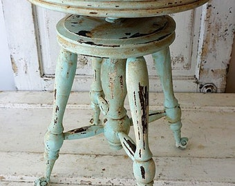 Painted claw foot wood piano stool distressed shabby cottage chic robins egg blue w/ cream aged wooden bench home decor anita spero design