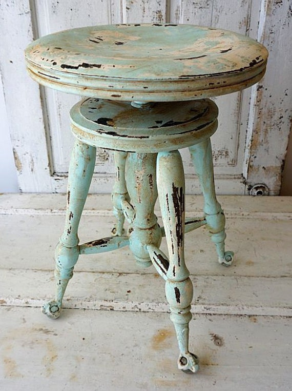 Painted Claw Foot Wood Piano Stool Distressed Shabby Cottage
