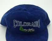 Vintage COLORADO Corduroy Snapback Hat Made in U.S.A. rocky mountains centennial state adjustable