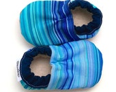 SALE - LAST PAIR - blue baby shoes tula booties keeghan's sky tula booties soft soles shoes for baby striped baby shoes vegan baby tula