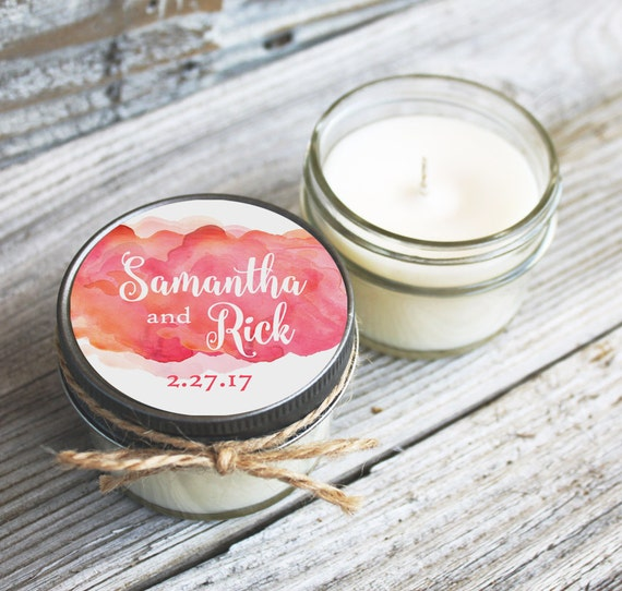 Set of 12 - 4 oz Wedding Favor Candles - Personalized Wedding Favors // Watercolor Clouds Wedding Favors // Custom Candle Favors //