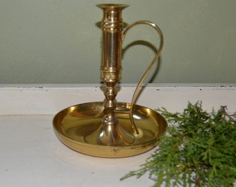 Vintage Brass Candle Stick Holder with handle Farmhouse Decor