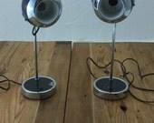 Mid Century Eyeball Hamilton Adjustable Lamps Pair