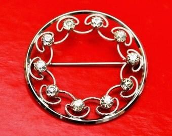 Krementz  Brooch Rhinestone  Silver tone  Round Wreath Mid Century Pin