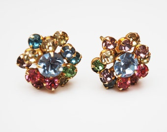 Colorful Rhinestone Earrings glass pronged gold setting screw back earrings mid century