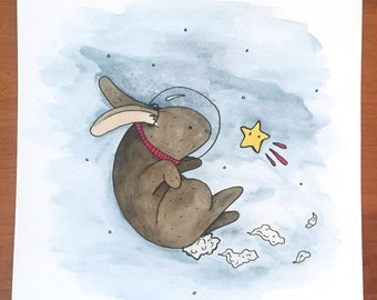 Space Bunny Watercolor Illustration - Print
