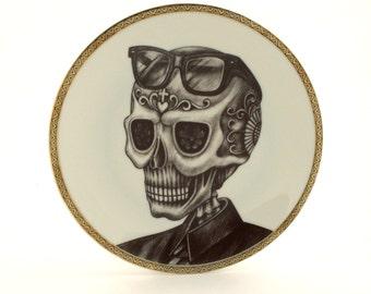 Sugar Skull Altered Vintage Porcelain Plate Calavera Man Glasses Day of the Dead Mexico Halloween Dios de los Muertos Wall Decoration
