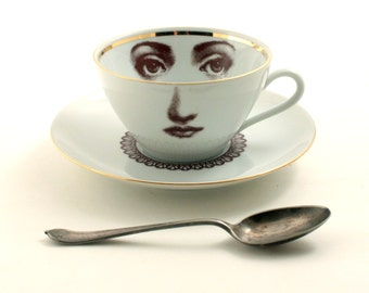 Altered Porcelain Vintage Cup Coffee Tea Saucer Woman Face Lace Collar Eyes Lina Cavalieri Mothersday Christmas   Romantic Geekery Whimsical