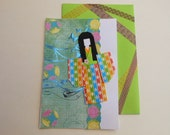 Japanese Greeting Card - Oriental Paper Doll Card - Chiyogami Origami Paper - Handmade Greeting Card - All Occasions - Blank Inside