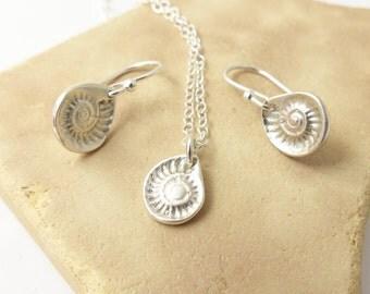 Fossil gioielli - collana argento orecchino Set - gioielli dell'Ammonite Giurassico - geologia - regalo per geologo - Biologia Marina