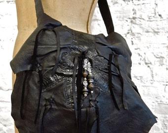 70s Erda Handmade Deerskin Black Leather Hippie Bag