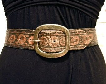 70s Tooled Leather Belt with Brass Buckle