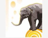 Elephant & Yellow Ball Art Print, Elephant Art, Home Decor, Original Kids Wall Art / 8x10 inches