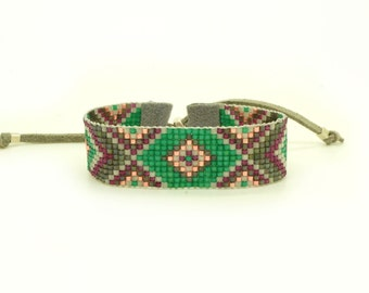 Emerald Green Statement Bracelet - Geometric Bracelet - Tribal Bracelet - Bead Loom Bracelet Rose Gold Burgundy Bracelet - Ethnic jewelry