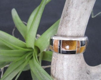 Vintage Sterling Silver Inlaid Ring