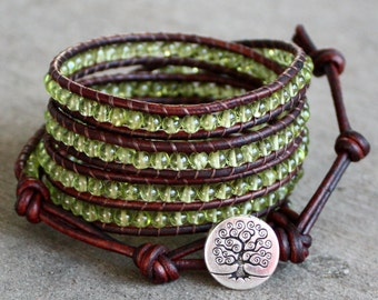 Green peridot beaded leather wrap bracelet lime green tree five wrap august birthstone 5 strand birthday gift