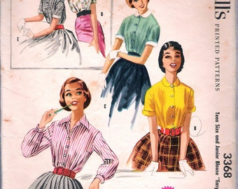 Vintage 1955 McCall's 3368 Teen And Junior Blouse Sewing Pattern Size 12 Bust 30""