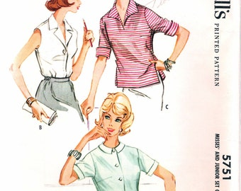 Vintage 1960 McCall's 5751 Set of Shirts Sewing Pattern Size 12 Bust 32""