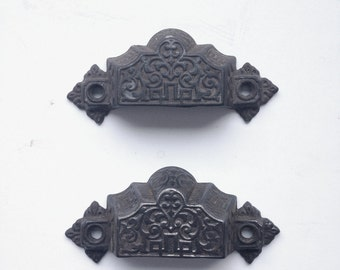 Antique Drawer Pulls, Pair of Cast Iron Drawer Pulls with Eastlake Design, Sargent & Co., From 1870s, Eastlake Bin Pulls, Cup Pulls