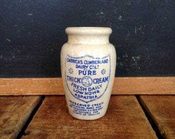 Antique Cream Pot, English Cream Pot with Blue Print Advertising, Carrick's Cumberland Dairy, Antique Cream Crock