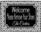Personalized Door Mat Remove Your Shoes Doormat Floor Mat Custom Welcome Mat Choose Colors