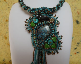 Forest Raven, Hand Carved Raven Fetish, Shattuckite Cabochon, Turquoise and Picasso Beads, Long Asymmetrical Fringe, Totem Necklace