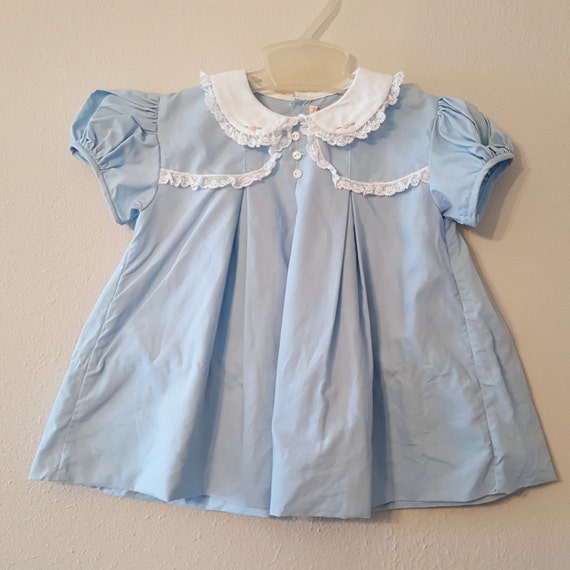 Vintage 50s Girls Blue Dress with White Embroidered Collar and Lace Trim by C.I. Castro - Size 12 months- New, never worn